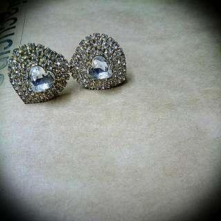 耳夾式 愛心型鑲鑽耳環