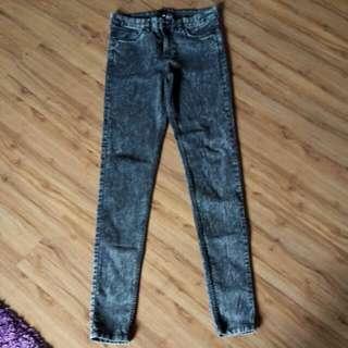 H N M Grey Acid Wash Skinny Jeans
