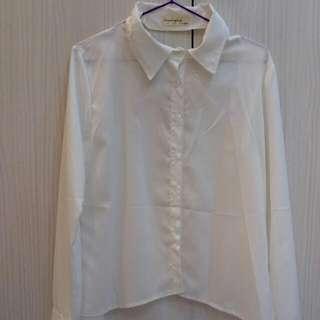 白色襯衫  前短後長