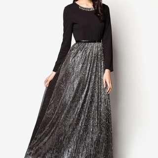 Zalora-Zalia Embellished Metallic Maxi Dress