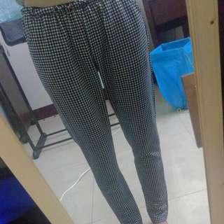 彈力格紋褲