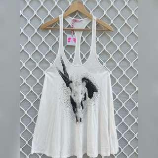 Sass & Bide Racer-back Skull Graphic Dress Or Long Tee Size S