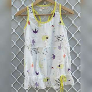 Super Soft Racer back Tank With Cute Print Size 6/XS