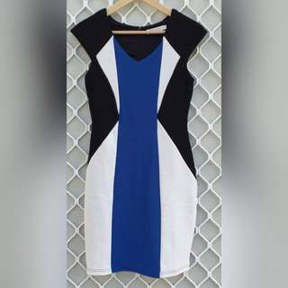 Color Block Abstract Body Con Knee-length Dress Size 8