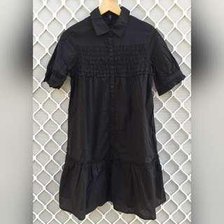 Black Petticoat Detail Midi Dress With Gather Detail