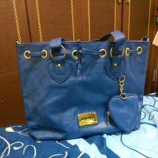 (全新)時尚寶藍兩用包