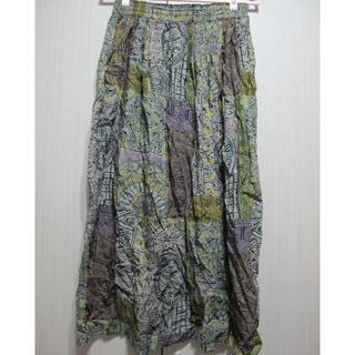 古著/清新綠色系巴洛克油畫風格棉質長裙