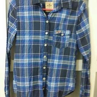 🚚 九成新 hollister 藍格襯衫