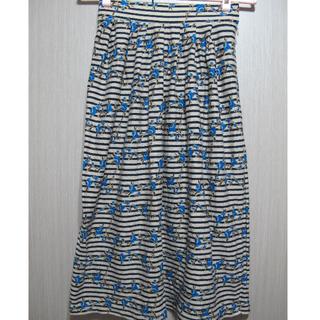 古著/條紋底鮮豔藍色玫瑰圖樣毛料傘狀長裙