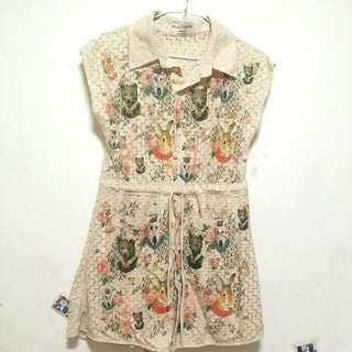 全新!! 可愛動物家族蕾絲甜美氣質裙子