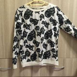 滿版黑白玫瑰薄長袖