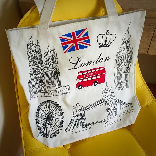 倫敦學生風-白色帆布袋(全新)