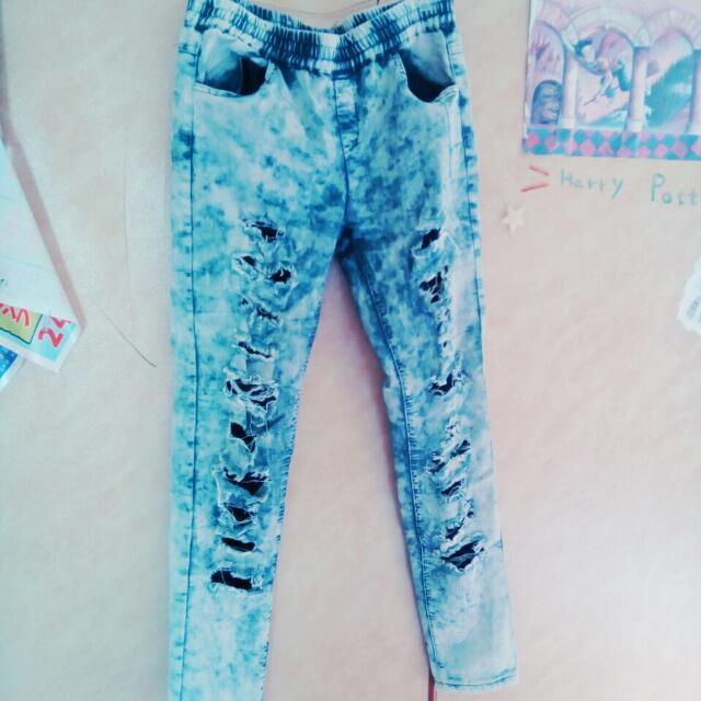 藍色雪花牛仔褲