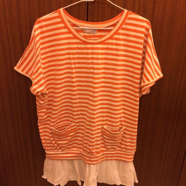 白橘雙色條紋上衣