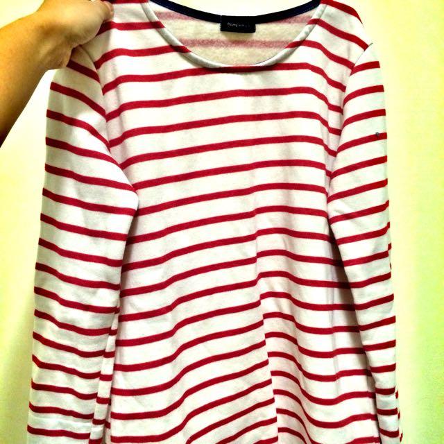 紅色橫條紋鋪棉長袖上衣