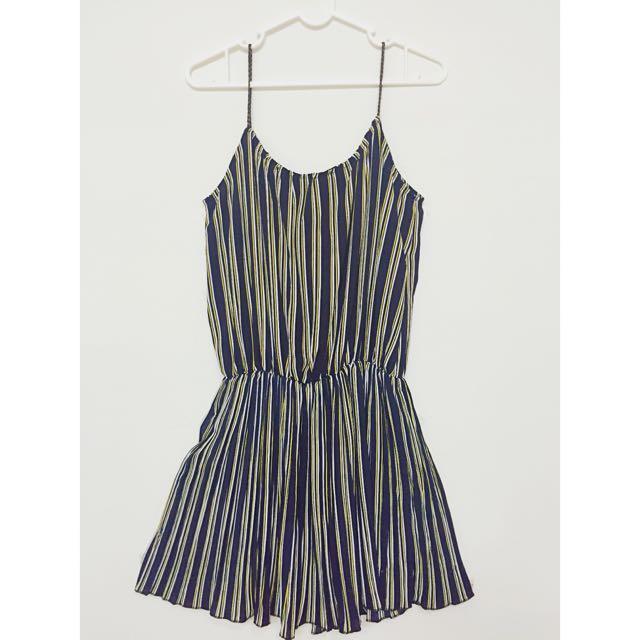 全新✨細肩條紋連身短裙