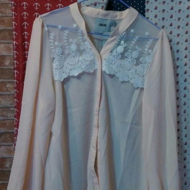 粉紅色雪紡襯衫