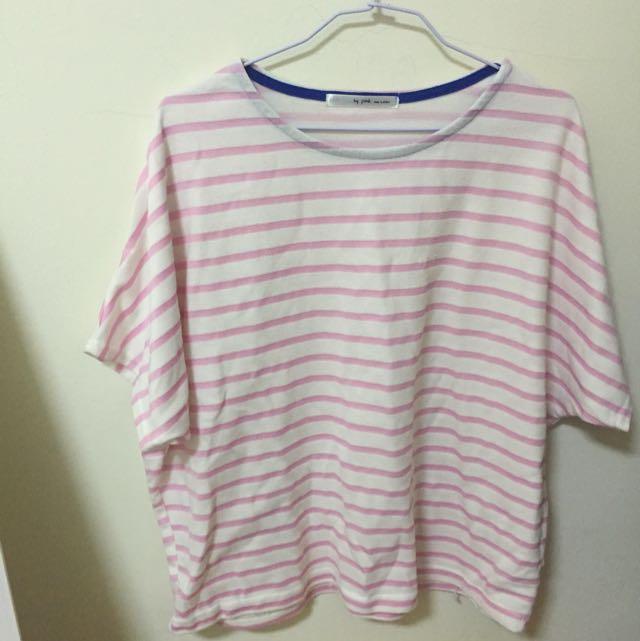 粉色橫條短袖寬鬆上衣(二手)
