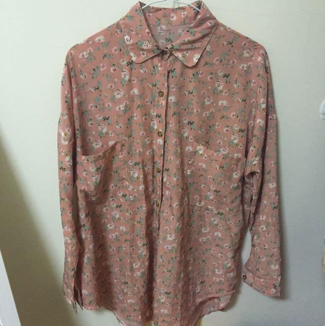 復古花花粉色滑質襯衫(全新)