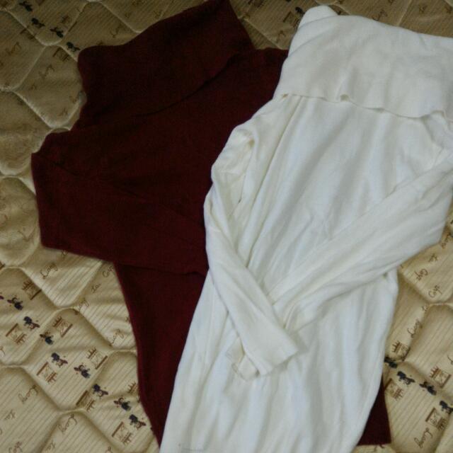 白 高領針織長袖上衣