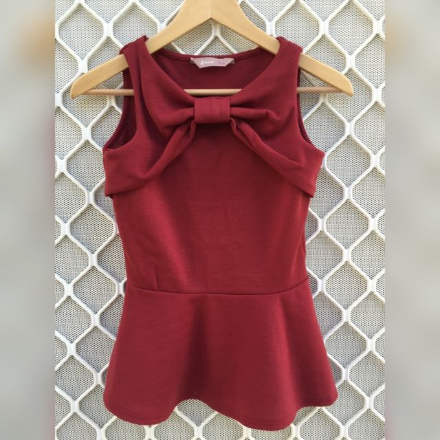 A|Wear Adorable Bow Detail Peplum Top In Plum/Burgundy