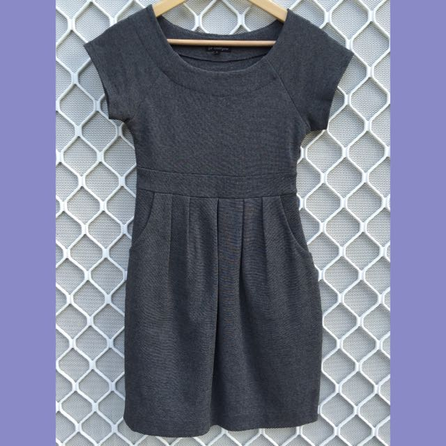 Charcoal Grey Boat Neck Knee Length Dress Size 8