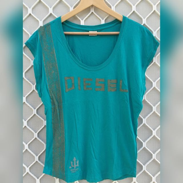 Diesel Teal/Aqua Ladies T-Shirt Size M