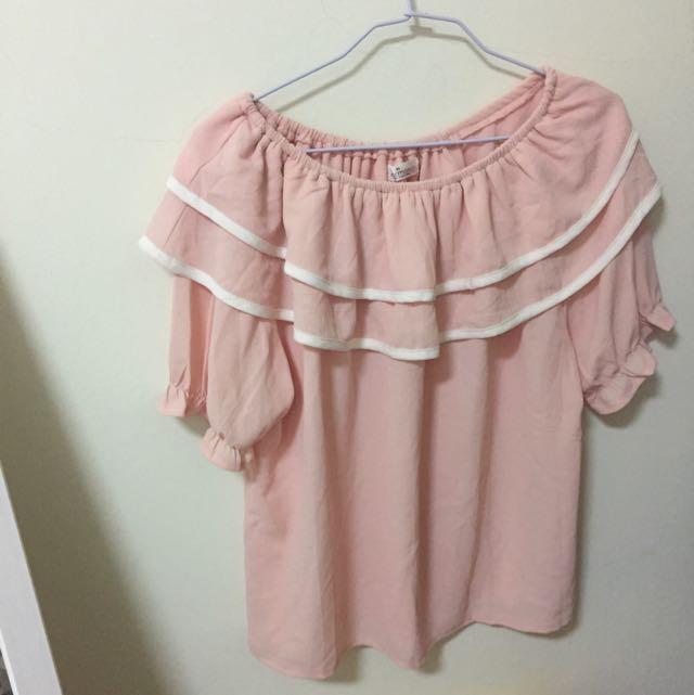 Eyescream粉色雪紡上衣(僅穿過一次)