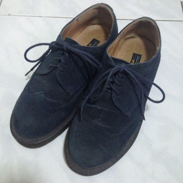 二手-grace gift KAZANA麂皮深藍綁帶雕花牛津鞋
