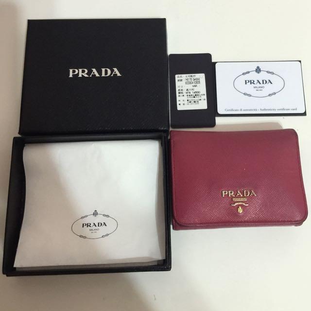 (保留中)PRADA 義大利桃紅色皮夾 正貨 二手商品(附購買保證卡與紙盒)