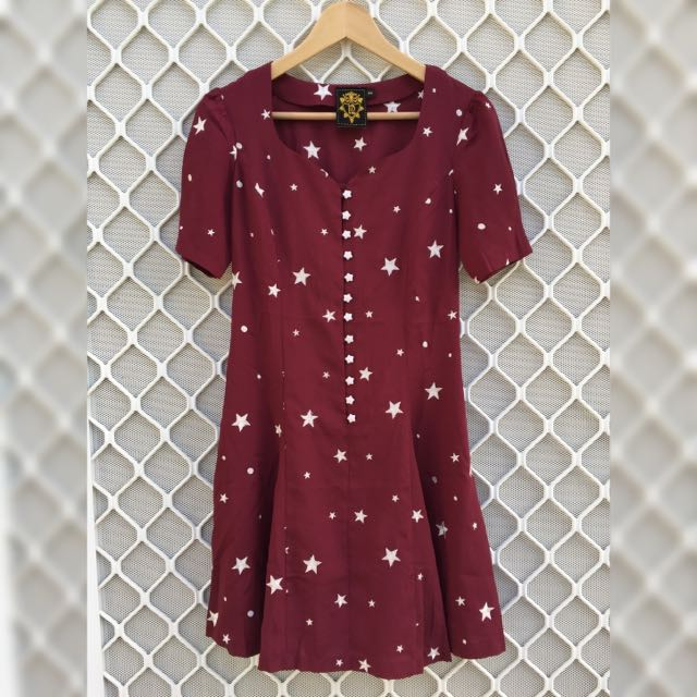 SUPERCUTE Burgundy And White Stars Mini Dress