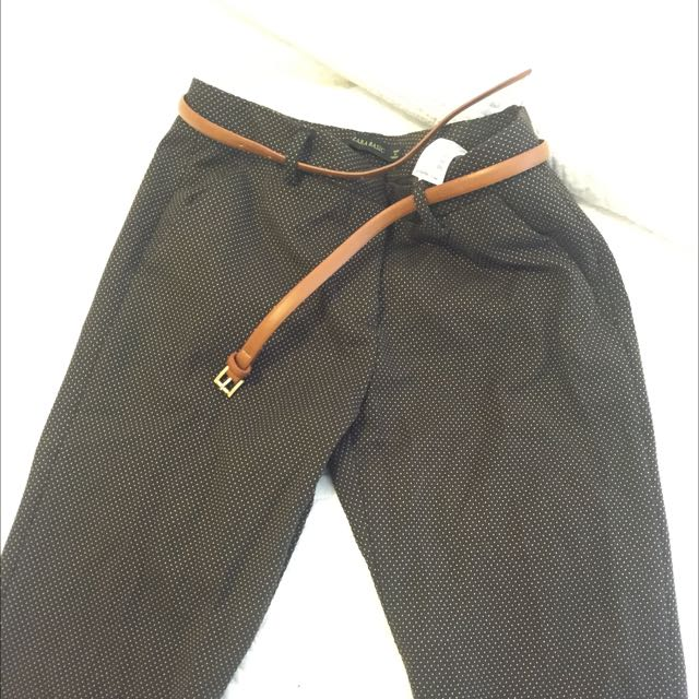 Zara Brown Polka Dot Pants With Belt Size 34