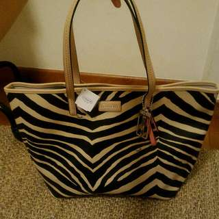 Coach Signature Zebra Print Tote Shoulder Bag - Authentic Brand New With Tags At 45% OFF!