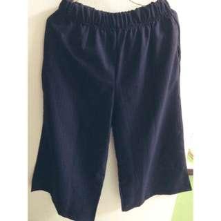 深藍直條紋寬褲