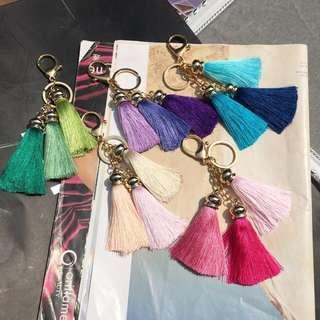 韓3頭漸層色系流蘇鑰匙扣名牌包掛飾5色 有實拍照