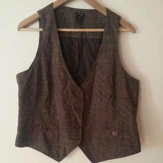 Brown Tweed Button Up Vest