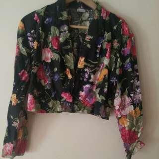 Black Floral Crop Blazer