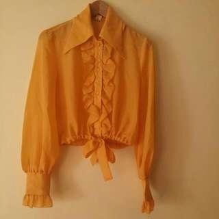 Yellow Orange Sheer Crop Blouse