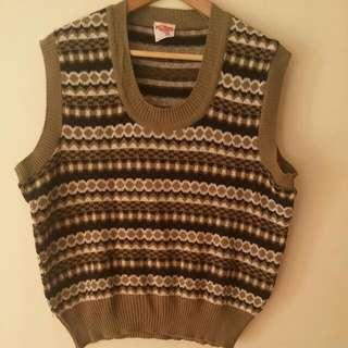 Khaki White And Black Knitted Vest