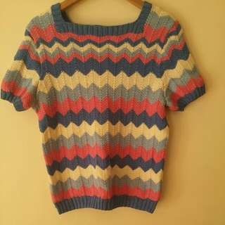 Pink Blue White Hand Knitted Short Sleeve Jumper