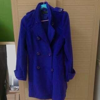 藍紫色毛呢大衣外套 西裝 厚
