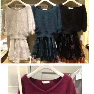 預購 Vivi雜誌款 Snidel同款兔毛&貂毛植絨兩件式洋裝
