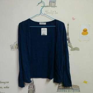 全新藍色針織罩衫外套
