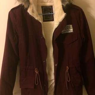韓版 軍裝 超好看刷毛保暖外套 棗紅色