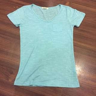 韓版 藍綠色 棉質上衣 短袖 很薄很涼 很透氣很舒服 穿過一次而已 九成五新 原價390