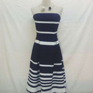 RESERVED[Free Postage] BNWT Blue And White Tube Dress Midi Length