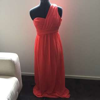 Forcast Coral One Shoulder Maxi Size 8 Brand New