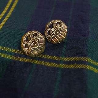 古典風金色耳針耳環-大