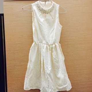全新。婚禮派對。白色小洋裝