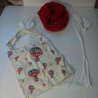 紅色毛線圍巾